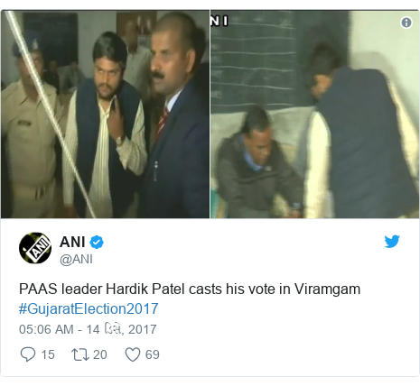Twitter post by @ANI: PAAS leader Hardik Patel casts his vote in Viramgam #GujaratElection2017
