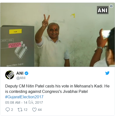 Twitter post by @ANI: Deputy CM Nitin Patel casts his vote in Mehsana's Kadi. He is contesting against Congress's Jivabhai Patel #GujaratElection2017