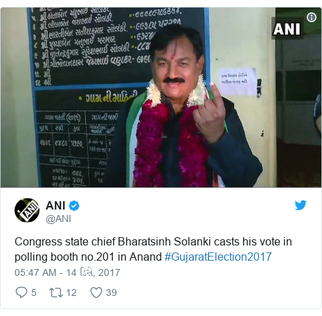 Twitter post by @ANI: Congress state chief Bharatsinh Solanki casts his vote in polling booth no.201 in Anand #GujaratElection2017