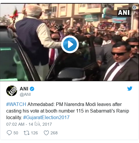 Twitter post by @ANI: #WATCH Ahmedabad  PM Narendra Modi leaves after casting his vote at booth number 115 in Sabarmati's Ranip locality. #GujaratElection2017