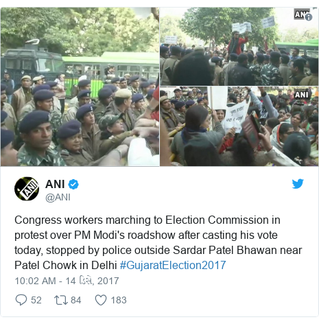 Twitter post by @ANI: Congress workers marching to Election Commission in protest over PM Modi's roadshow after casting his vote today, stopped by police outside Sardar Patel Bhawan near Patel Chowk in Delhi #GujaratElection2017