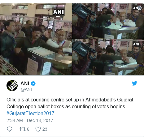 Twitter post by @ANI: Officials at counting centre set up in Ahmedabad's Gujarat College open ballot boxes as counting of votes begins #GujaratElection2017