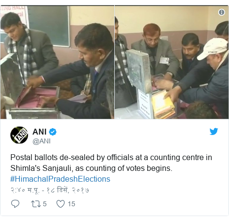 Twitter post by @ANI: Postal ballots de-sealed by officials at a counting centre in Shimla's Sanjauli, as counting of votes begins. #HimachalPradeshElections