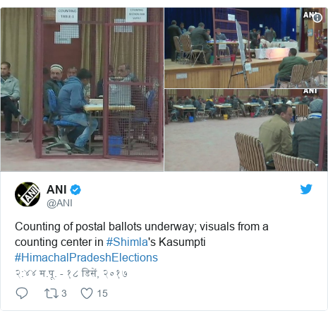 Twitter post by @ANI: Counting of postal ballots underway; visuals from a counting center in #Shimla's Kasumpti #HimachalPradeshElections