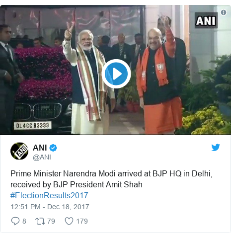 Twitter post by @ANI: Prime Minister Narendra Modi arrived at BJP HQ in Delhi, received by BJP President Amit Shah #ElectionResults2017