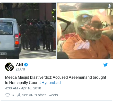 Twitter post by @ANI: Meeca Masjid blast verdict  Accused Aseemanand brought to Namapally Court #Hyderabad