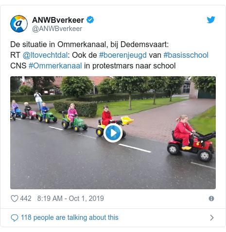 Twitter post by @ANWBverkeer: De situatie in Ommerkanaal, bij Dedemsvaart RT @ltovechtdal  Ook de #boerenjeugd van #basisschool CNS #Ommerkanaal in protestmars naar school