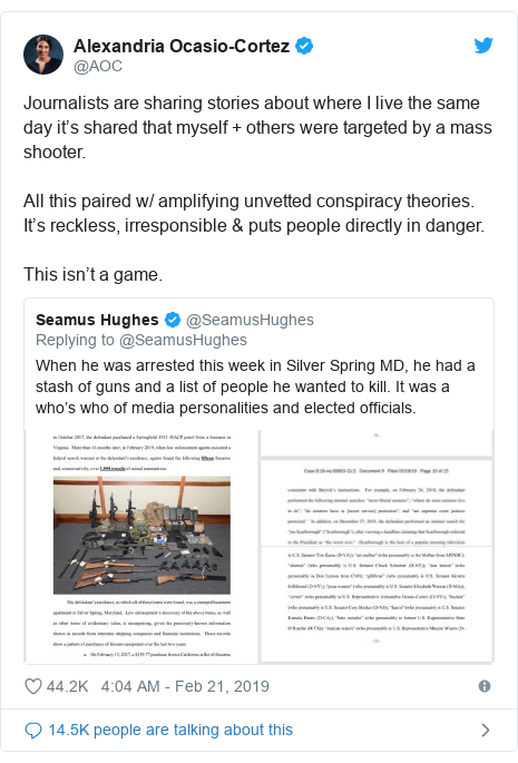 Twitter post by @AOC: Journalists are sharing stories about where I live the same day it's shared that myself + others were targeted by a mass shooter.All this paired w/ amplifying unvetted conspiracy theories. It's reckless, irresponsible & puts people directly in danger. This isn't a game.