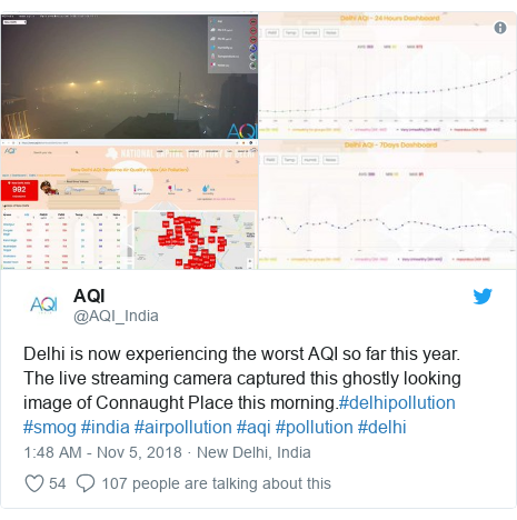 Twitter post by @AQI_India: Delhi is now experiencing the worst AQI so far this year. The live streaming camera captured this ghostly looking image of Connaught Place this morning.#delhipollution #smog #india #airpollution #aqi #pollution #delhi