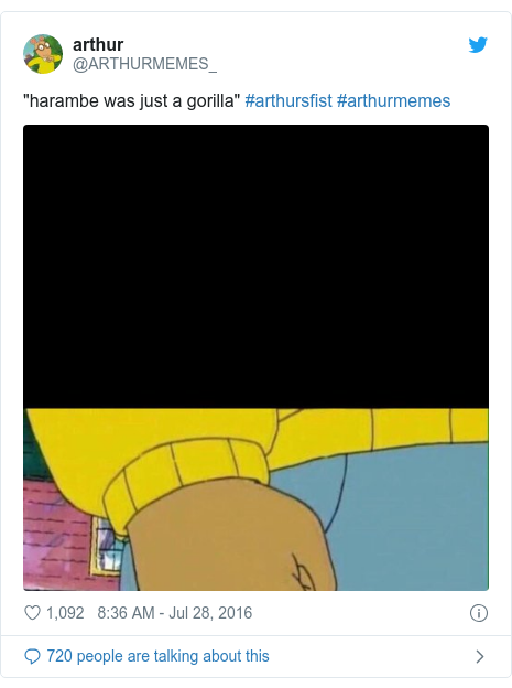 """Twitter post by @ARTHURMEMES_: """"harambe was just a gorilla"""" #arthursfist #arthurmemes"""
