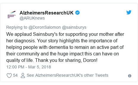 Twitter post by @ARUKnews: We applaud Sainsbury's for supporting your mother after her diagnosis. Your story highlights the importance of helping people with dementia to remain an active part of their community and the huge impact this can have on quality of life. Thank you for sharing, Doron!