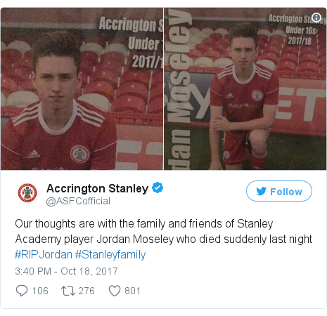 Twitter post by @ASFCofficial: Our thoughts are with the family and friends of Stanley Academy player Jordan Moseley who died suddenly last night #RIPJordan #Stanleyfamily