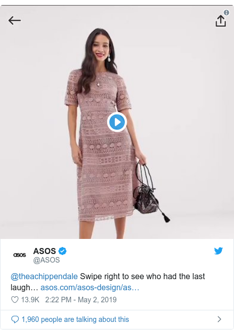 Twitter post by @ASOS: @theachippendale Swipe right to see who had the last laugh…