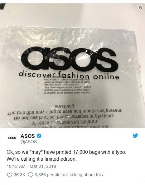 Twitter post by @ASOS: Ok, so we *may* have printed 17,000 bags with a typo. We're calling it a limited edition.