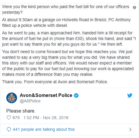 Twitter post by @ASPolice: Please share.