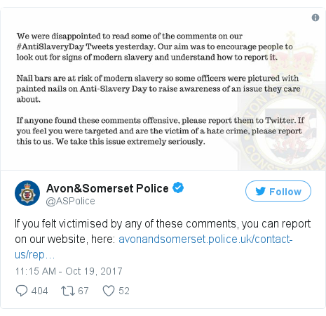 Twitter post by @ASPolice: If you felt victimised by any of these comments, you can report on our website, here