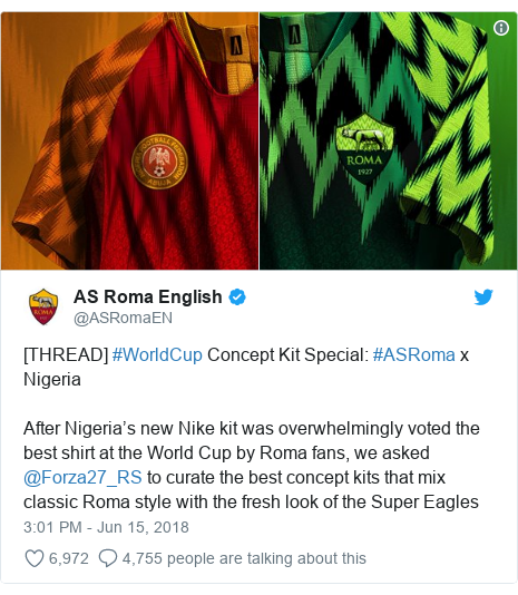 Twitter post by @ASRomaEN: [THREAD] #WorldCup Concept Kit Special  #ASRoma x NigeriaAfter Nigeria's new Nike kit was overwhelmingly voted the best shirt at the World Cup by Roma fans, we asked @Forza27_RS to curate the best concept kits that mix classic Roma style with the fresh look of the Super Eagles