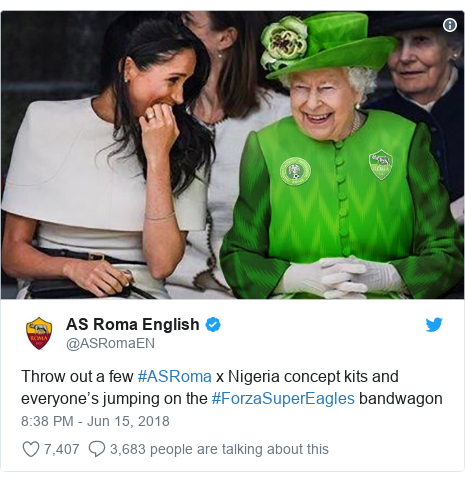 Twitter post by @ASRomaEN: Throw out a few #ASRoma x Nigeria concept kits and everyone's jumping on the #ForzaSuperEagles bandwagon