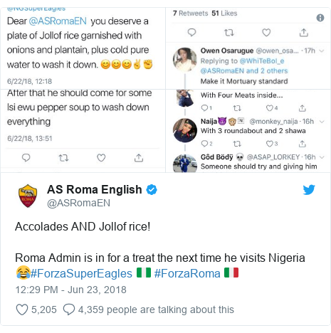 Twitter post by @ASRomaEN: Accolades AND Jollof rice!Roma Admin is in for a treat the next time he visits Nigeria 😂#ForzaSuperEagles 🇳🇬 #ForzaRoma 🇮🇹