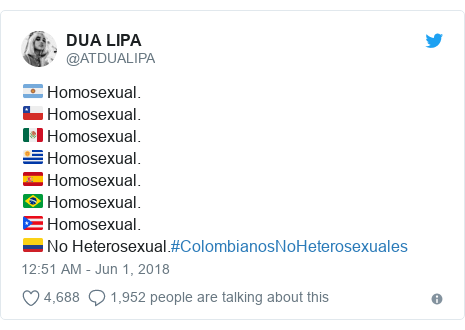 Twitter post by @ATDUALIPA: 🇦🇷 Homosexual.🇨🇱 Homosexual.🇲🇽 Homosexual.🇺🇾 Homosexual.🇪🇸 Homosexual.🇧🇷 Homosexual.🇵🇷 Homosexual.🇨🇴 No Heterosexual.#ColombianosNoHeterosexuales