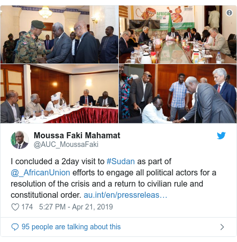 Twitter ubutumwa bwa @AUC_MoussaFaki: I concluded a 2day visit to #Sudan as part of  @_AfricanUnion efforts to engage all political actors for a resolution of the crisis and a return to civilian rule and constitutional order.