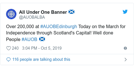 Twitter post by @AUOBALBA: Over 200,000 at #AUOBEdinburgh Today on the March for Independence through Scotland's Capital! Well done People #AUOB 🏴󠁧󠁢󠁳󠁣󠁴󠁿