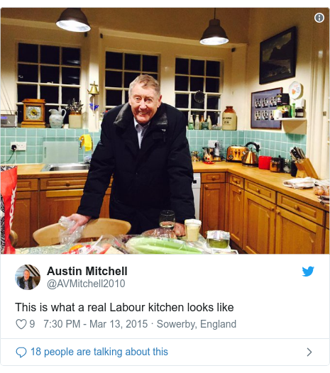 Twitter post by @AVMitchell2010: This is what a real Labour kitchen looks like