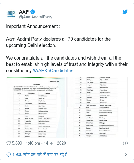 ट्विटर पोस्ट @AamAadmiParty: Important Announcement  Aam Aadmi Party declares all 70 candidates for the upcoming Delhi election. We congratulate all the candidates and wish them all the best to establish high levels of trust and integrity within their constituency.#AAPKeCandidates
