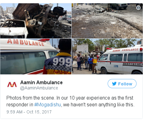 Twitter post by @AaminAmbulance: Photos from the scene. In our 10 year experience as the first responder in #Mogadishu, we haven't seen anything like this.