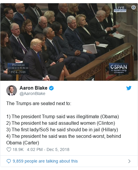Twitter post by @AaronBlake: The Trumps are seated next to 1) The president Trump said was illegitimate (Obama)2) The president he said assaulted women (Clinton)3) The first lady/SoS he said should be in jail (Hillary)4) The president he said was the second-worst, behind Obama (Carter)