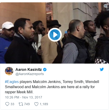 Twitter post by @AaronKazreports: #Eagles players Malcolm Jenkins, Torrey Smith, Wendell Smallwood and Malcolm Jenkins are here at a rally for rapper Meek Mill.