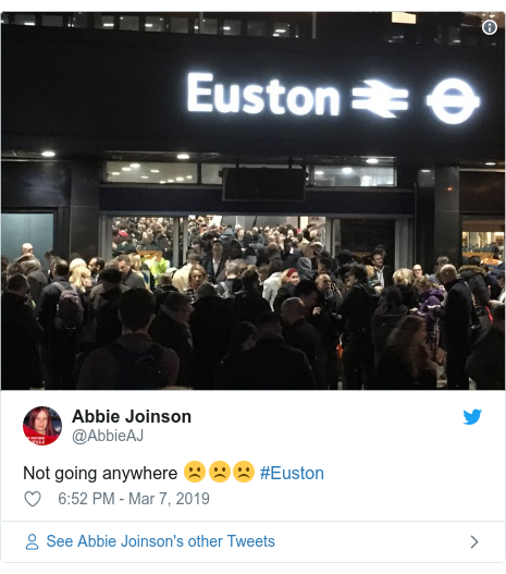 Twitter post by @AbbieAJ: Not going anywhere ☹️☹️☹️ #Euston