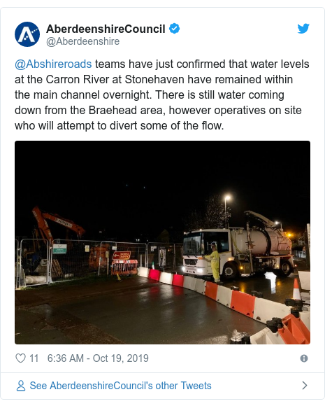 Twitter post by @Aberdeenshire: @Abshireroads teams have just confirmed that water levels at the Carron River at Stonehaven have remained within the main channel overnight. There is still water coming down from the Braehead area, however operatives on site who will attempt to divert some of the flow.