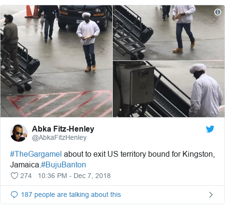 Twitter post by @AbkaFitzHenley: #TheGargamel about to exit US territory bound for Kingston, Jamaica.#BujuBanton