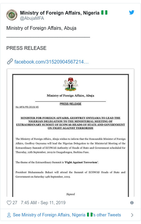 Ujumbe wa Twitter wa @AbujaMFA: Ministry of Foreign Affairs, Abuja_______________________________PRESS RELEASE🔗