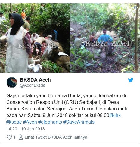 Twitter pesan oleh @AcehBksda: Gajah terlatih yang bernama Bunta, yang ditempatkan di Conservation Respon Unit (CRU) Serbajadi, di Desa Bunin, Kecamatan Serbajadi Aceh Timur ditemukan mati pada hari Sabtu, 9 Juni 2018 sekitar pukul 08.00#klhk #ksdae #Aceh #elephants #SaveAnimals