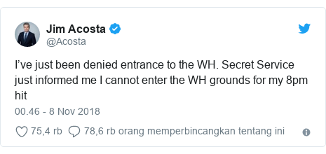 Twitter pesan oleh @Acosta: I've just been denied entrance to the WH. Secret Service just informed me I cannot enter the WH grounds for my 8pm hit