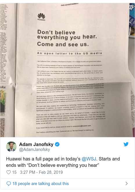 "Twitter post by @AdamJanofsky: Huawei has a full page ad in today's @WSJ. Starts and ends with ""Don't believe everything you hear"""