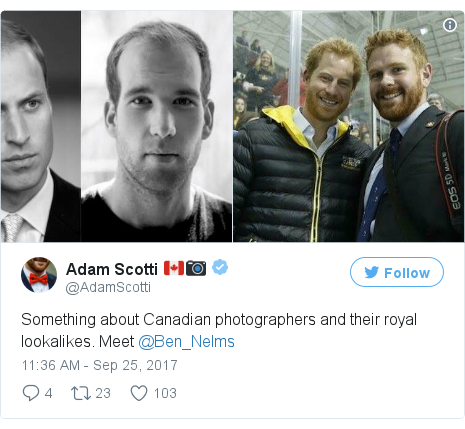 Twitter post by @AdamScotti: Something about Canadian photographers and their royal lookalikes. Meet @Ben_Nelms pic.twitter.com/trrQVJNMMK