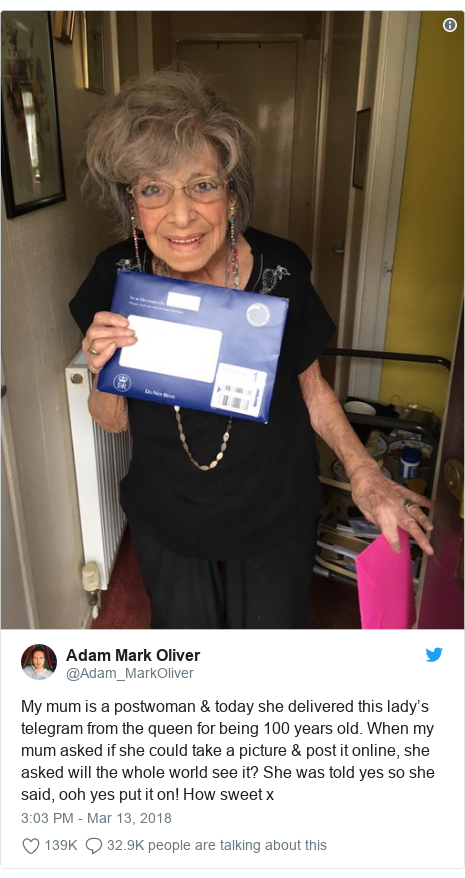 Twitter post by @Adam_MarkOliver: My mum is a postwoman & today she delivered this lady's telegram from the queen for being 100 years old. When my mum asked if she could take a picture & post it online, she asked will the whole world see it? She was told yes so she said, ooh yes put it on! How sweet x