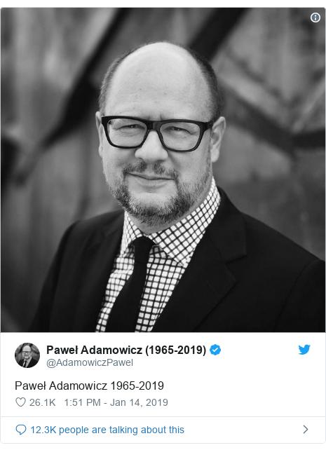 Twitter post by @AdamowiczPawel: Paweł Adamowicz 1965-2019