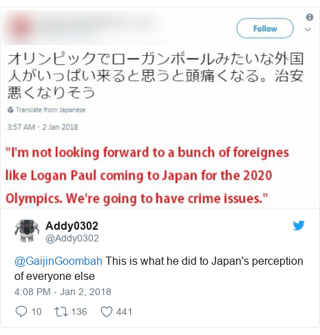 Twitter post by @Addy0302: @GaijinGoombah This is what he did to Japan's perception of everyone else