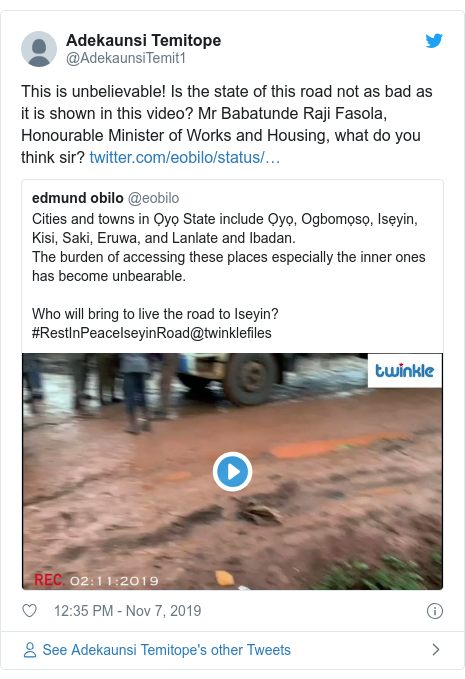 Twitter post by @AdekaunsiTemit1: This is unbelievable! Is the state of this road not as bad as it is shown in this video? Mr Babatunde Raji Fasola, Honourable Minister of Works and Housing, what do you think sir?