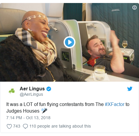 Twitter post by @AerLingus: It was a LOT of fun flying contestants from The #XFactor to Judges Houses 🎤