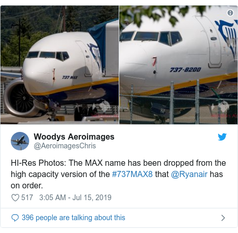 Twitter post by @AeroimagesChris: HI-Res Photos  The MAX name has been dropped from the high capacity version of the #737MAX8 that @Ryanair has on order.