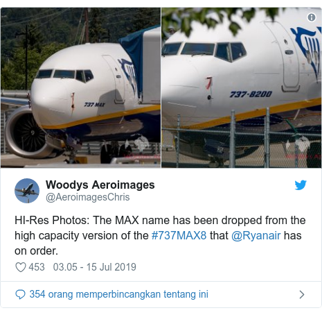 Twitter pesan oleh @AeroimagesChris: HI-Res Photos  The MAX name has been dropped from the high capacity version of the #737MAX8 that @Ryanair has on order.