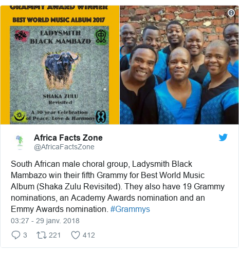 Twitter publication par @AfricaFactsZone: South African male choral group, Ladysmith Black Mambazo win their fifth Grammy for Best World Music Album (Shaka Zulu Revisited). They also have 19 Grammy nominations, an Academy Awards nomination and an Emmy Awards nomination. #Grammys