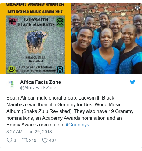 Twitter post by @AfricaFactsZone: South African male choral group, Ladysmith Black Mambazo win their fifth Grammy for Best World Music Album (Shaka Zulu Revisited). They also have 19 Grammy nominations, an Academy Awards nomination and an Emmy Awards nomination. #Grammys