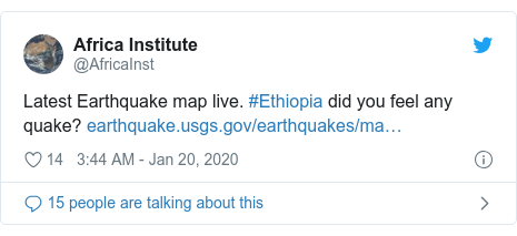 Twitter post by @AfricaInst: Latest Earthquake map live. #Ethiopia did you feel any quake?