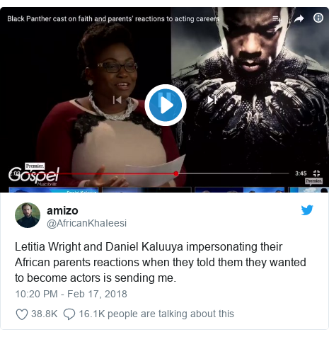 Twitter post by @AfricanKhaIeesi: Letitia Wright and Daniel Kaluuya impersonating their African parents reactions when they told them they wanted to become actors is sending me.